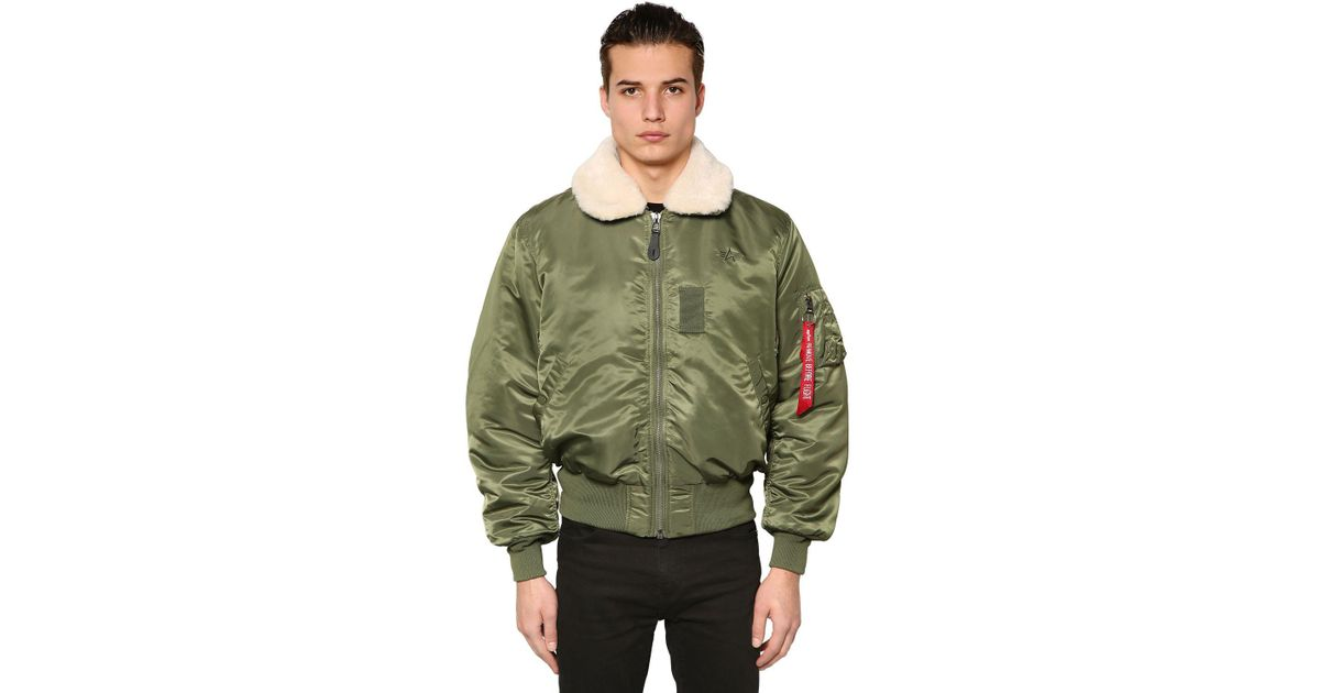 67c7758625d Lyst - Alpha Industries B-15 Oversized Nylon Bomber Jacket in Green for Men