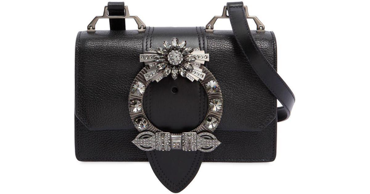 273a42e292e Lyst - Miu Miu Miu Lady Shoulder Bag W  Crystal Buckle in Black