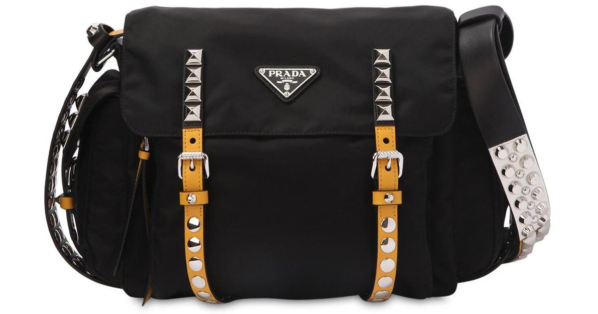 57ac47b5e Prada Studded Nylon Messenger Bag in Black - Lyst
