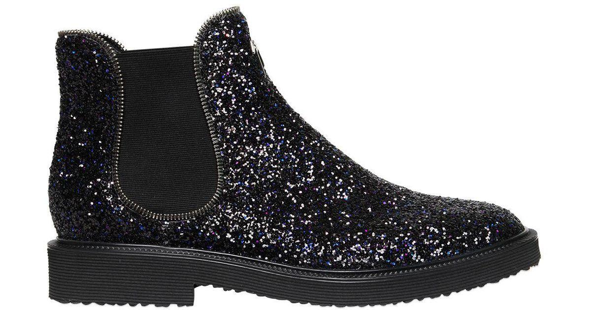 3233493792df6 Lyst - Giuseppe Zanotti Glittered Chelsea Boots With Zipper Trim in Black