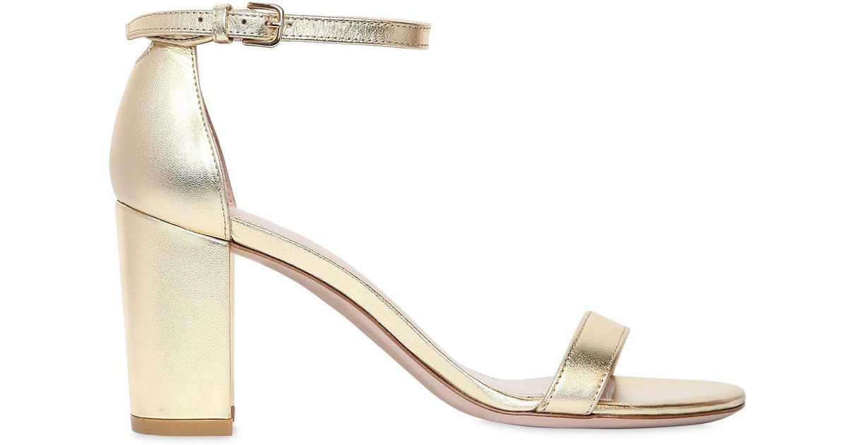Stuart Weitzman 75MM NEARLY NUDE METALLIC LEATHER SANDAL Cheap Top Quality Ce8Dh6lOSn