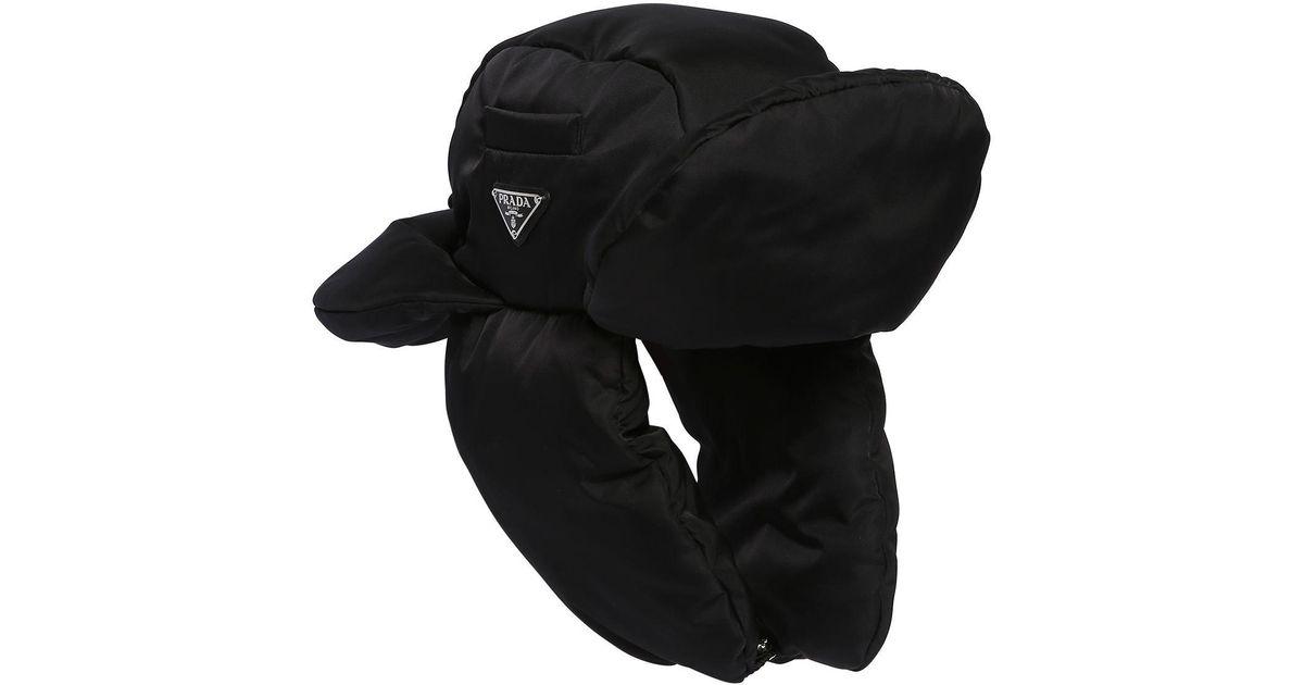 e1914be850d Lyst - Prada Padded Nylon Trapper Hat in Black for Men