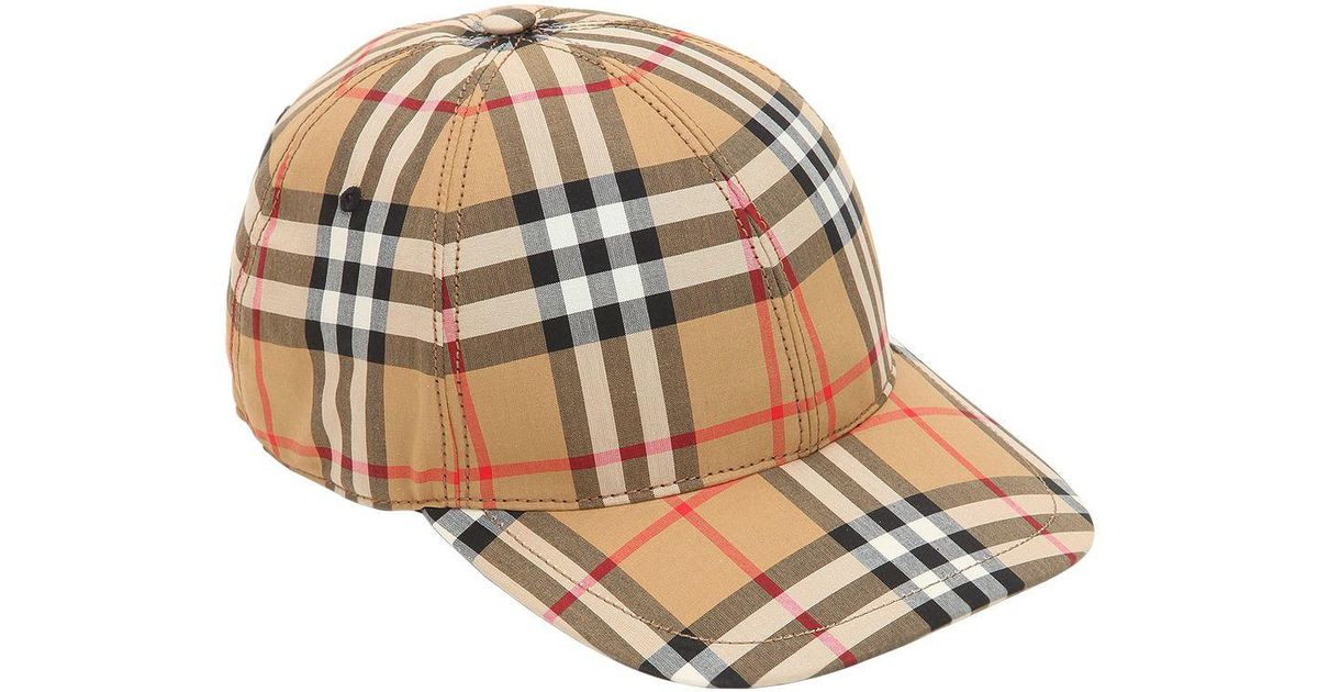 3371c69054653 Burberry Vintage Check Cotton Baseball Cap in Natural - Lyst