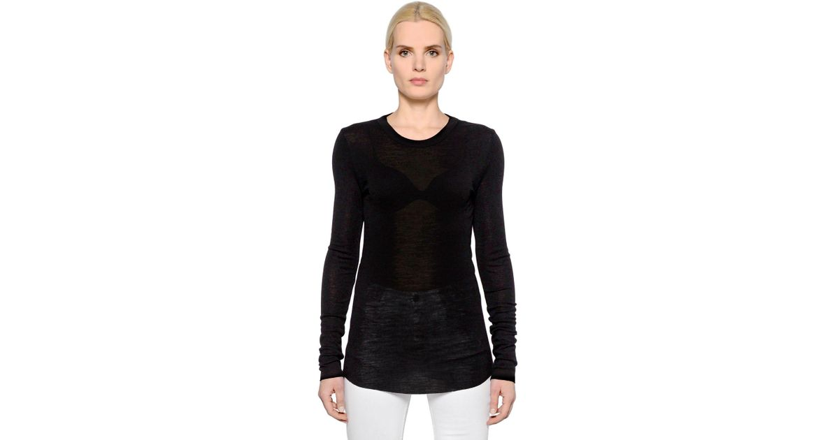 Lyst - Étoile Isabel Marant Wool Jersey Long Sleeve T-shirt in Black 8e35b50fe