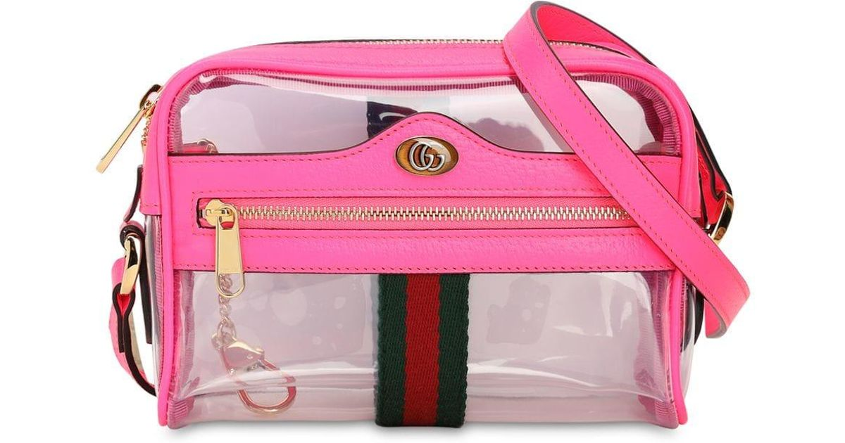cdf20512a Gucci Mini Ophidia Ghost Vinyl Shoulder Bag in Pink - Lyst