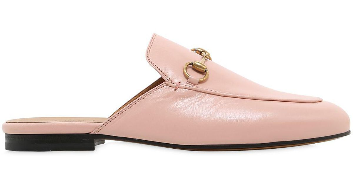 6f5856904490 Gucci 10mm Princetown Horsebit Leather Mules in Pink - Lyst