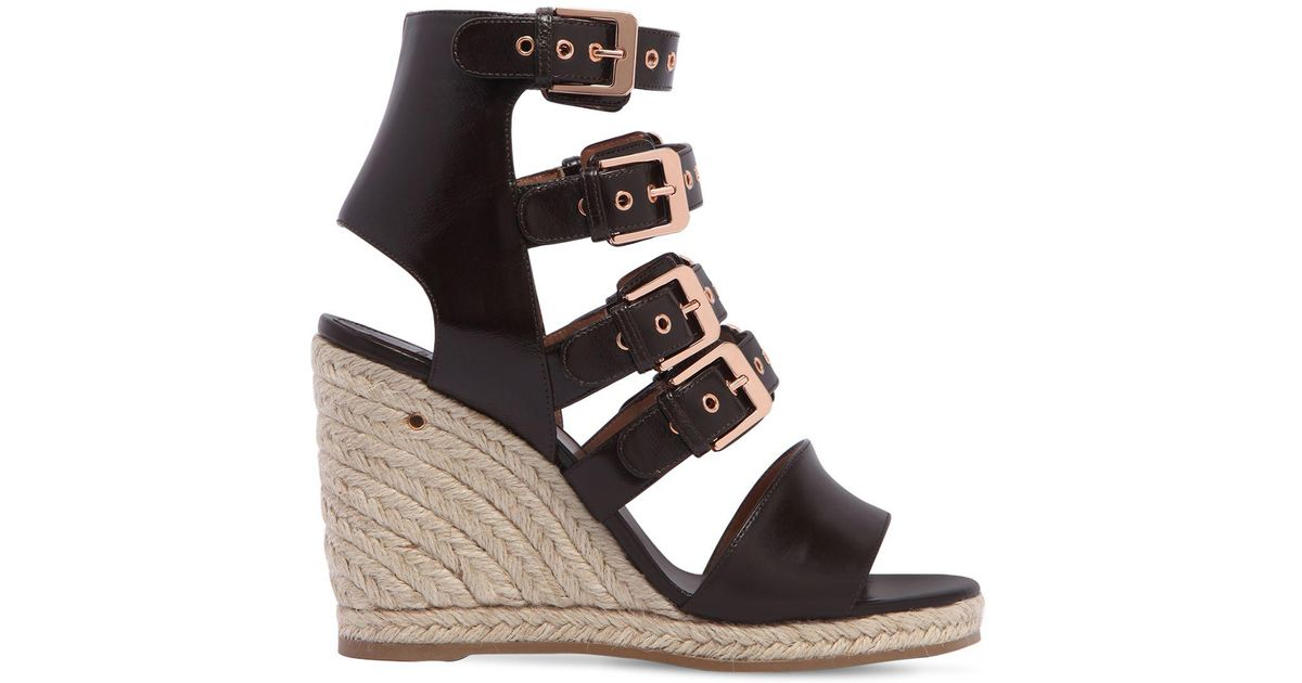 LAURENCE DACADE Rosario Shiny Leather Wedge Sandals atyPT2