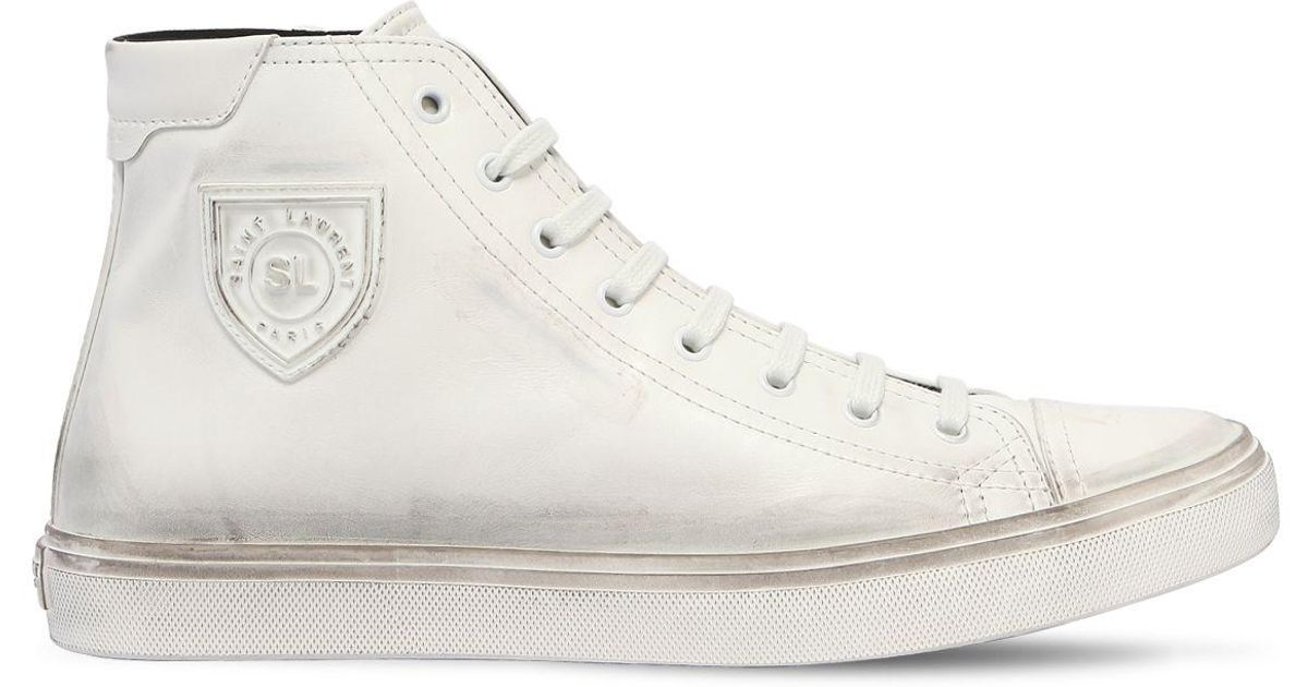 Saint LaurentJERSEY VINTAGE EFFECT LEATHER SNEAKERS CdTqcK77Q