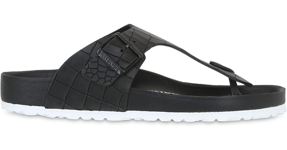 cbe5827bc06 Lyst - Birkenstock Ramses Croc Embossed Leather Sandals in Black for Men