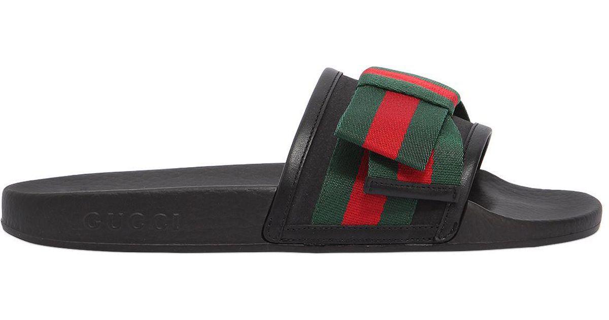 4647ca3c724 Lyst - Gucci 10mm Pursuit Web Bow Satin Slide Flats in Black for Men