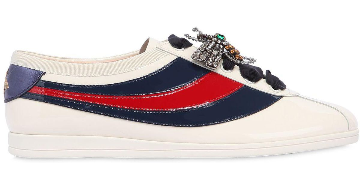 71b5a88ea Gucci 10mm Falacer Patent Leather Sneakers in Blue - Lyst
