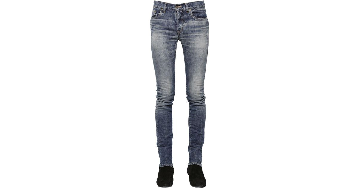 49be6799ba6 Saint Laurent 15cm Low Rise Stretch Denim Jeans in Blue for Men - Lyst