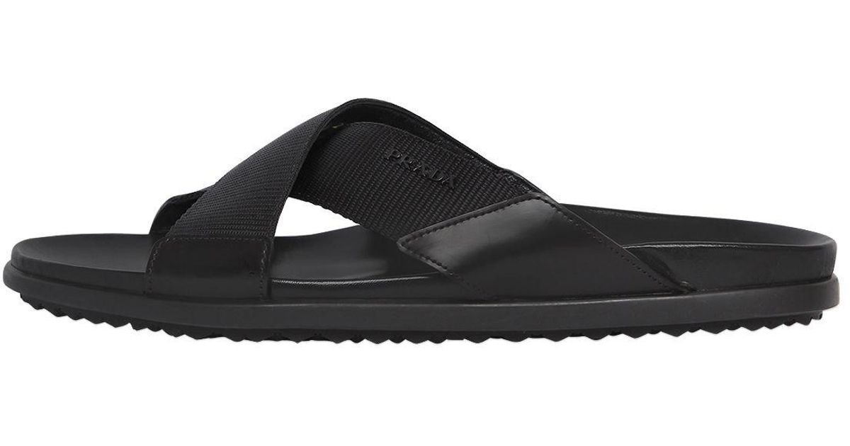 530828aaa66296 Lyst - Prada Crisscrossed Nylon   Leather Sandals in Black for Men