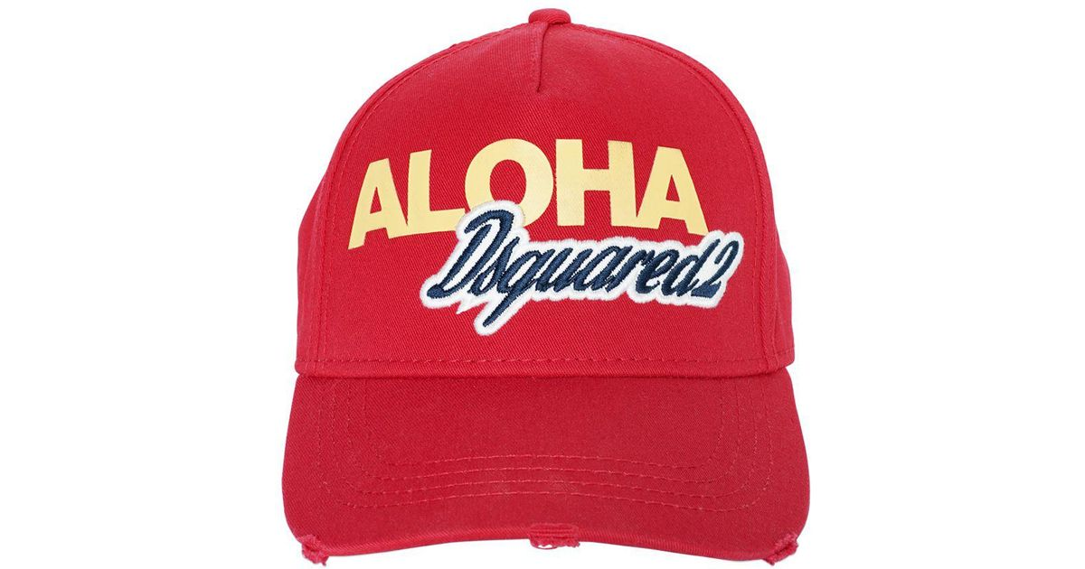 782d437ca8eef DSquared² Aloha Logo Cotton Canvas Baseball Hat in Red for Men - Lyst