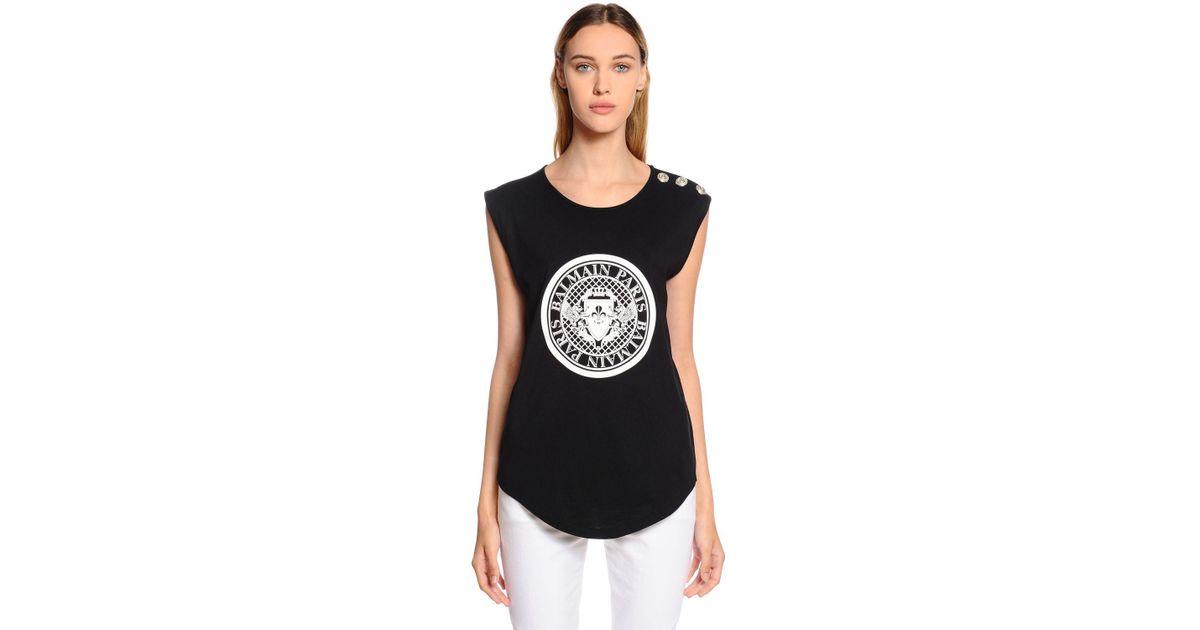d2f2ef7d Balmain Logo Cotton Jersey Sleeveless T-shirt in Black - Lyst