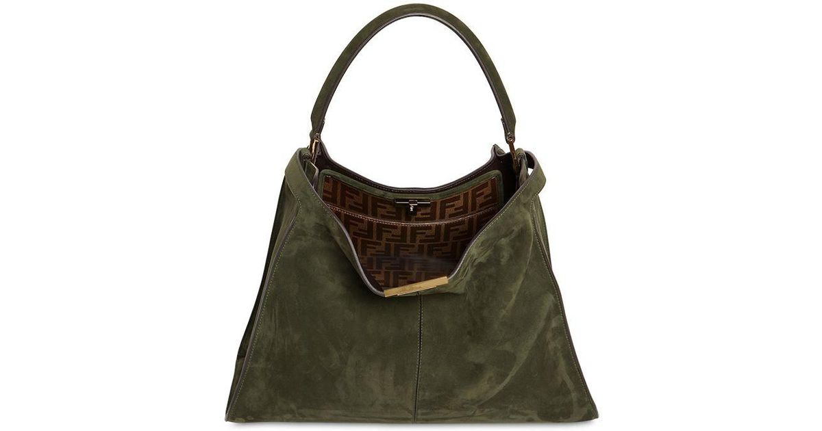 1563b1940e8f Lyst - Fendi Peekaboo Lite Suede Bag W  Logo in Green