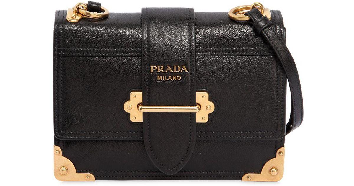f468521adec2 Prada Medium Cahier Leather Shoulder Bag in Black - Lyst