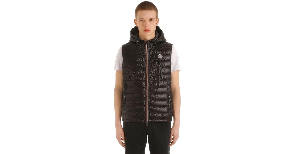 362a86a0aafc Moncler Gien Hooded Nylon Down Vest in Black for Men - Lyst