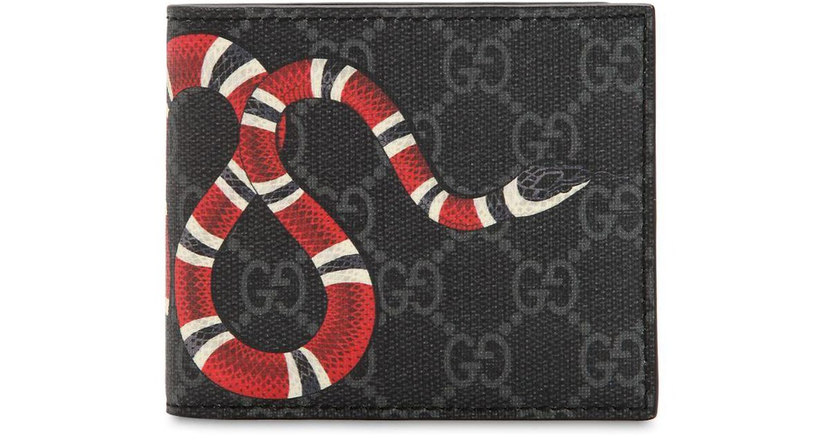 60945b0b53fd Gucci Snake Printed Gg Supreme Canvas Wallet in Black for Men - Lyst
