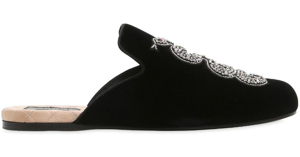 acac859f22c Lyst - Gucci Evening Slipper With Snake Velvet Black in Black