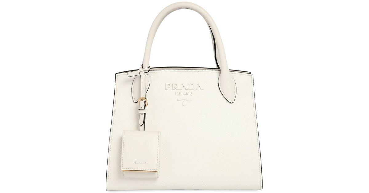 ad57618f149d Prada Small Monochrome Saffiano Leather Bag in White - Lyst