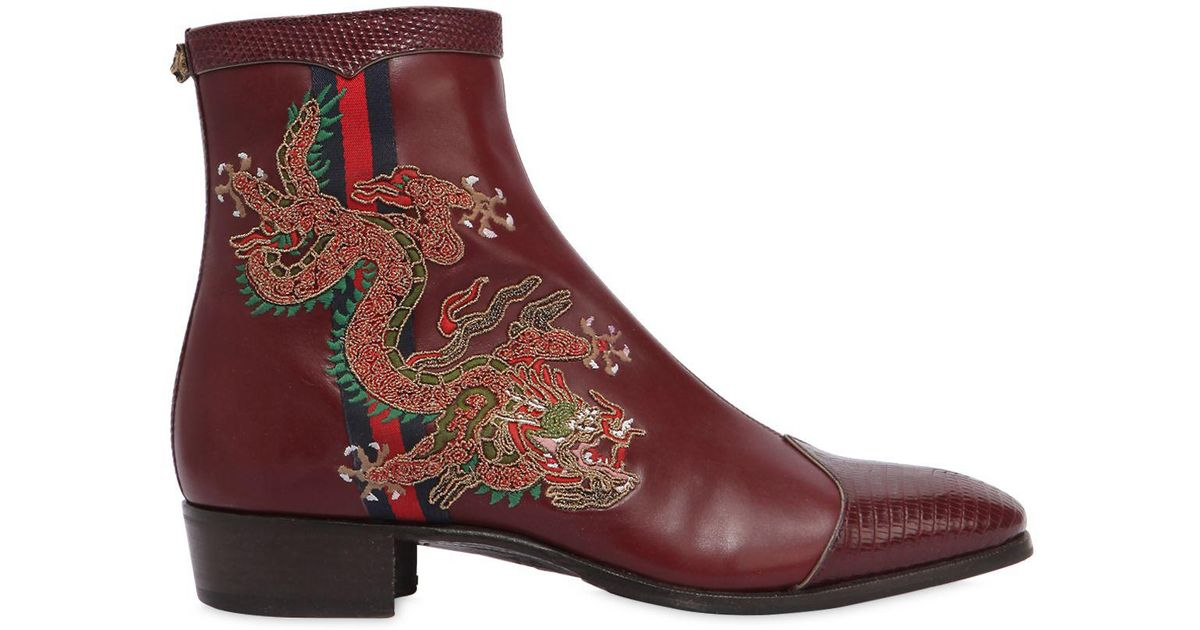 5cfe07ffe89c0 Gucci Leather Boot With Dragon for Men - Lyst