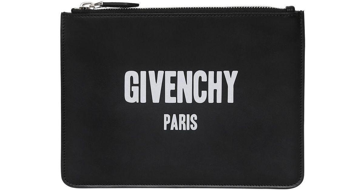 Lyst - Givenchy Logo Print Medium Leather Pouch in Black 6b74f31b52b32