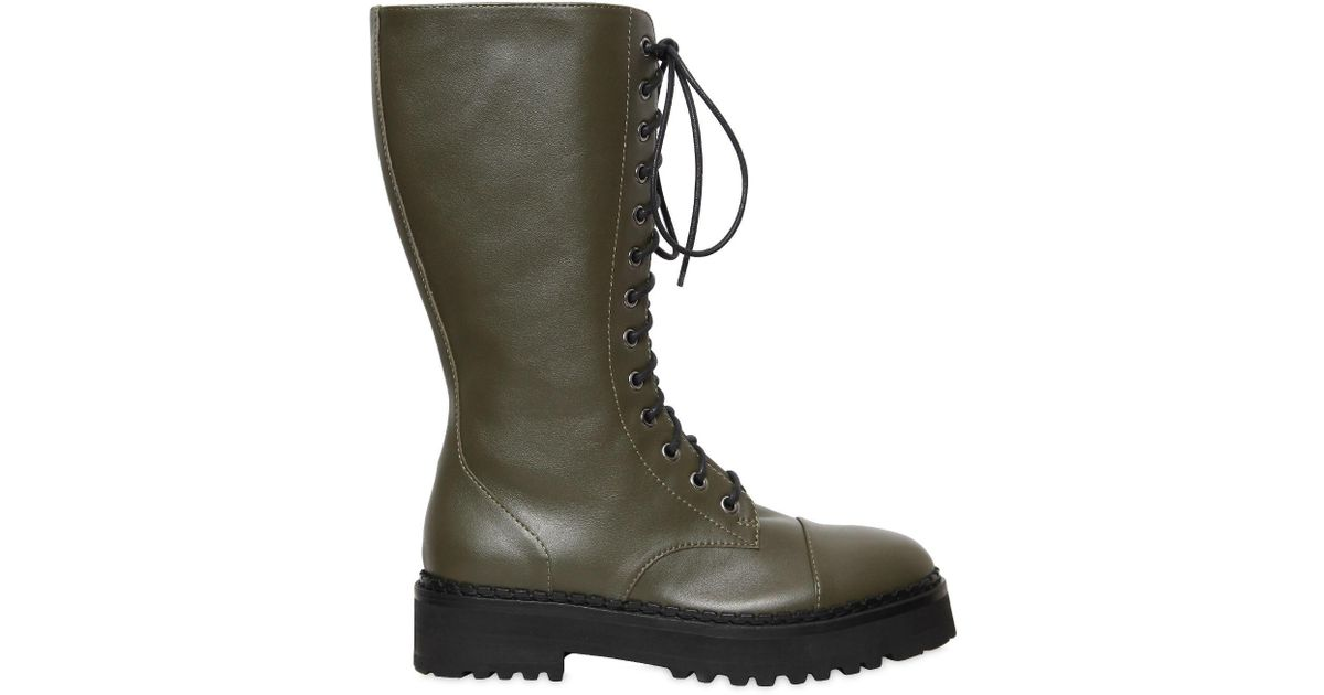 Moschino 40MM LEATHER COMBAT BOOTS XAuDFUPhGQ