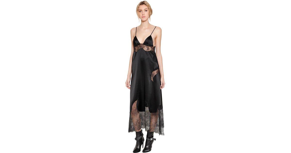 Lyst - Off-White C/O Virgil Abloh Satin & Sheer Lace Dress in Black