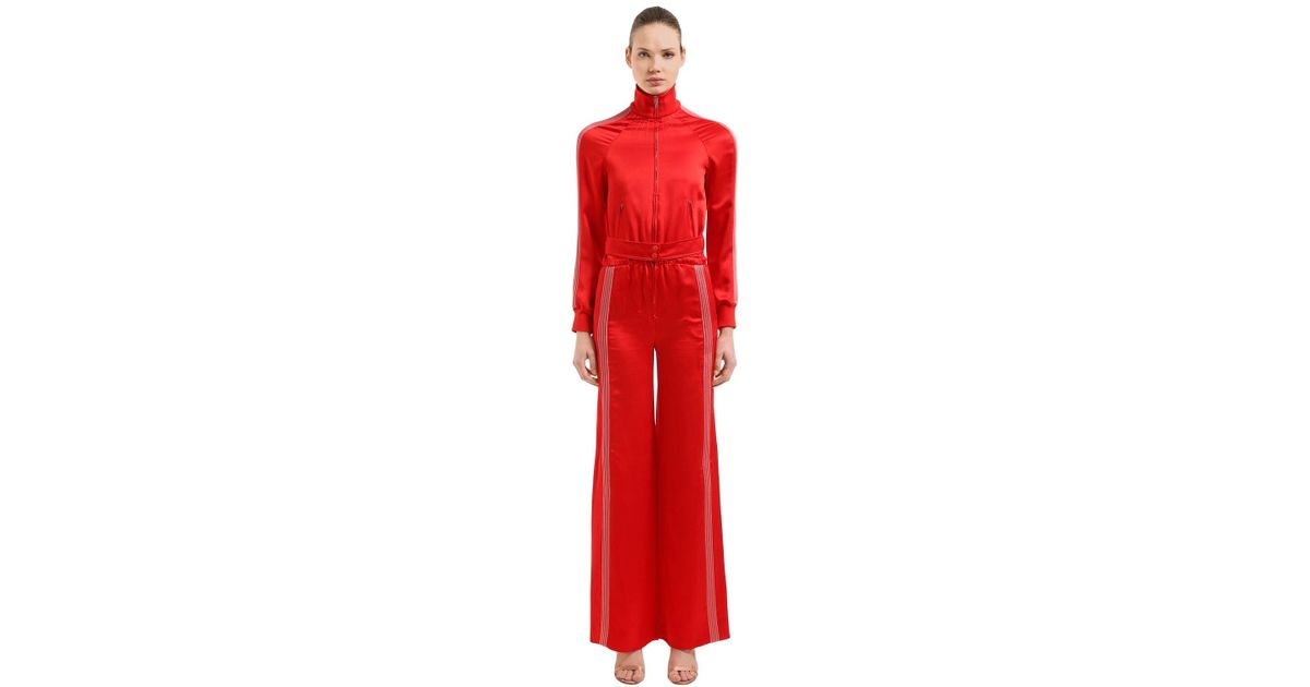 95e72a79d809 Valentino Textured Satin Jumpsuit in Red - Lyst