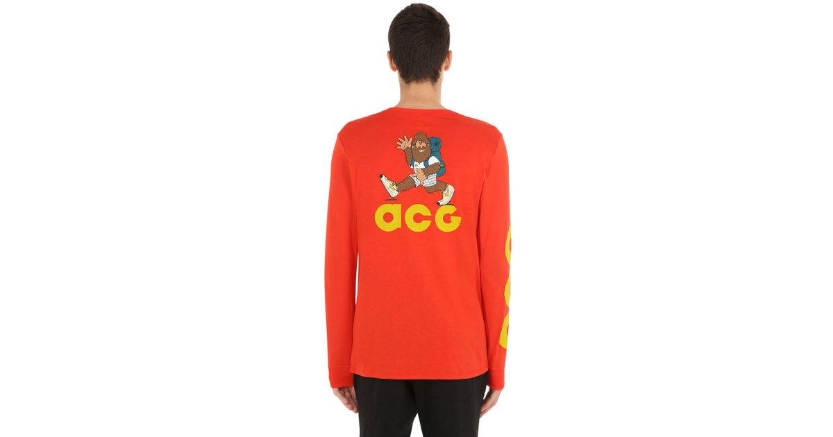 4856f7c4cb42 Lyst - Nike Nikelab Acg Long Sleeve Cotton T-shirt in Red for Men
