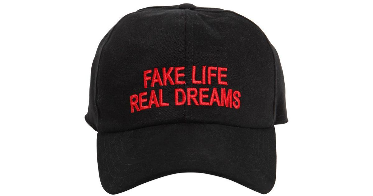 6acd03547b8 Joshua Sanders Fake Life Real Dreams Canvas Hat in Black for Men - Lyst