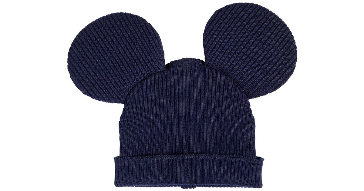 768673e8137 Lyst - Comme des Garçons Mouse Ears Wool Blend Rib Knit Beanie in Blue for  Men