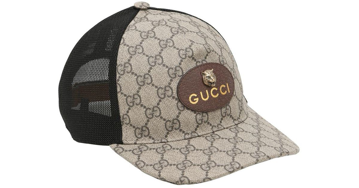 Lyst - Gucci Coated Original Gg Tiger Trucker Hat for Men 3394efbd354