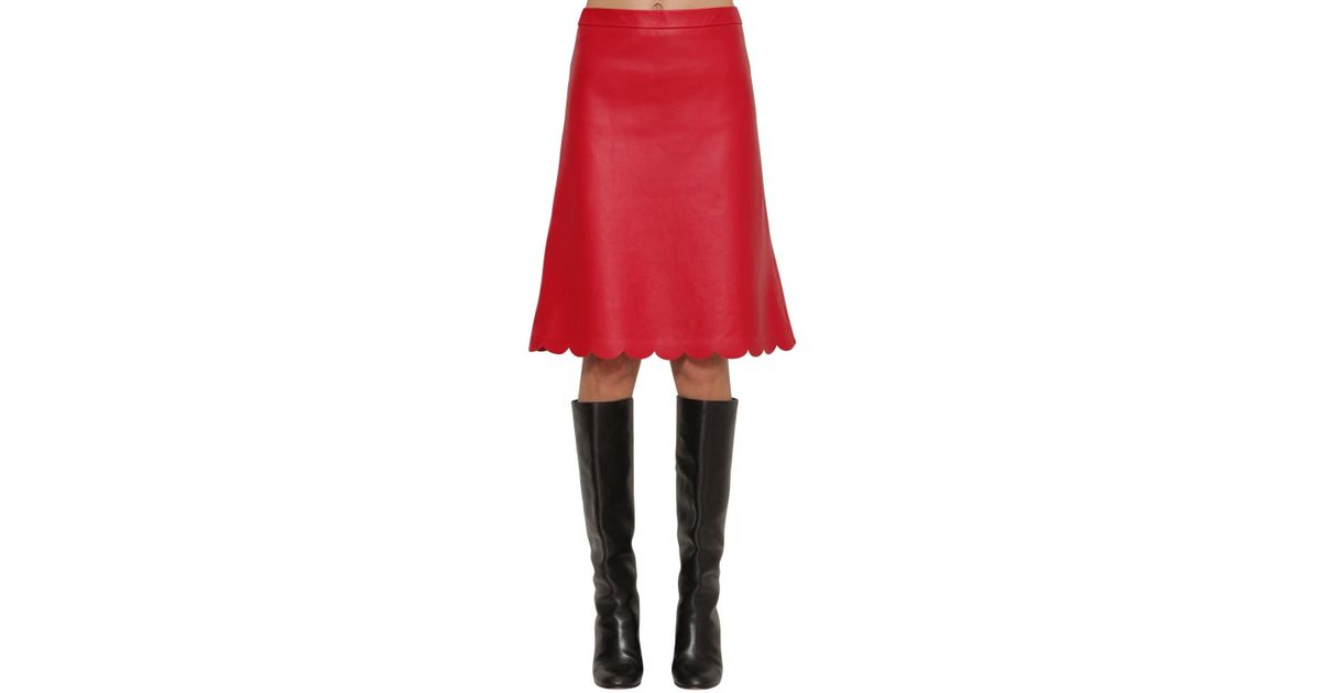fa9b4db80e RED Valentino Scalloped Hem Nappa Leather Midi Skirt in Red - Lyst