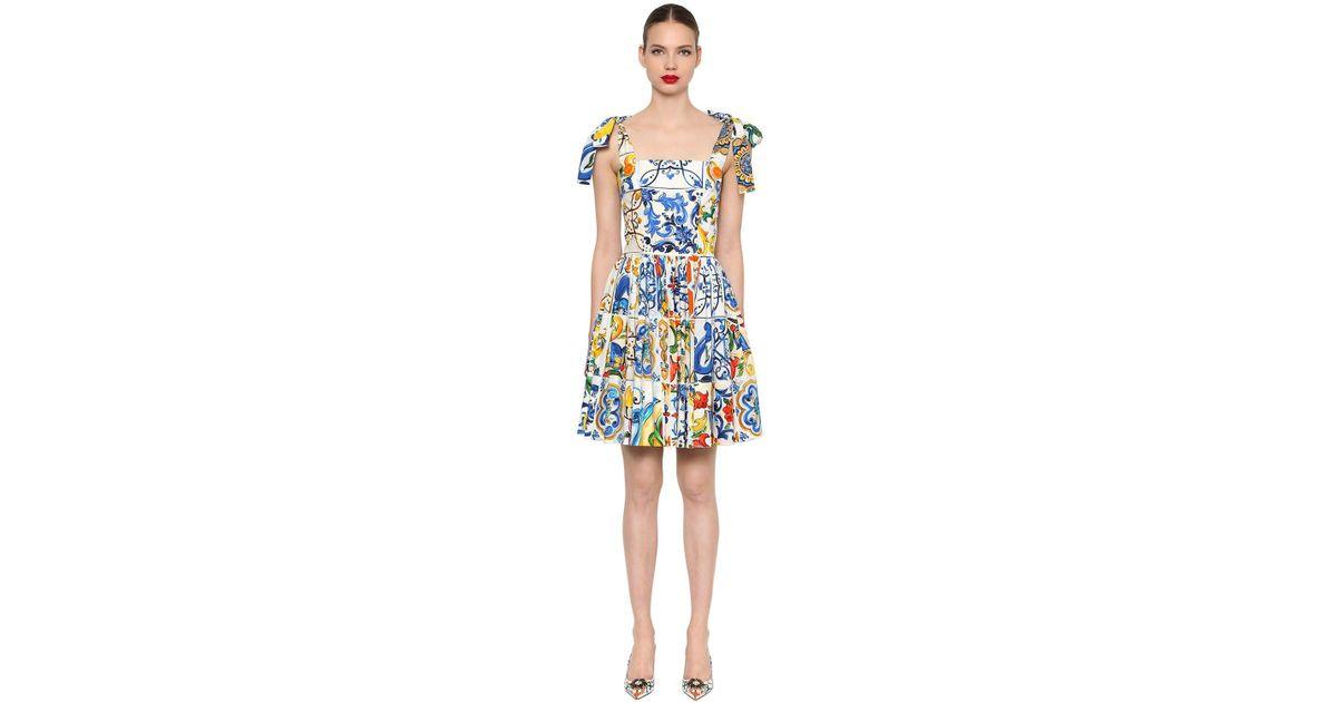 9f36bbf66 Vestido De Popelina De Algodón Estampado Maiolica Dolce   Gabbana - Lyst