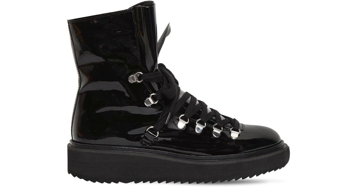 Kenzo 40MM PATENT LEATHER & SHEARLING BOOTS vKPJs