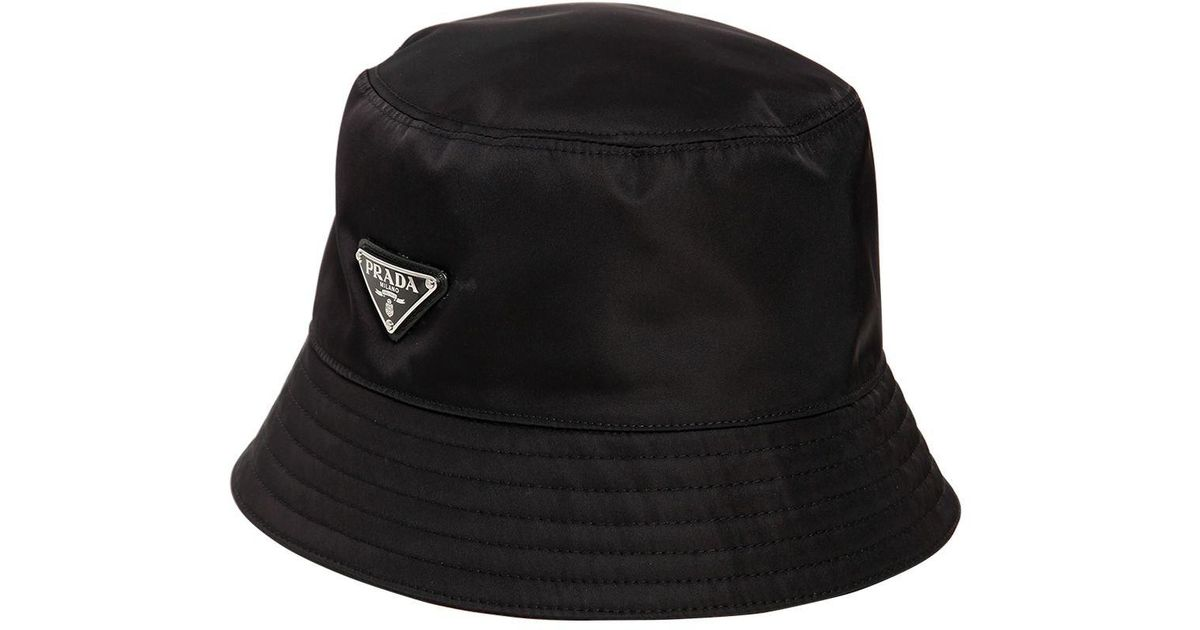 1fdaecd9 Prada Tessuto Triangolo Bucket Hat in Black for Men - Lyst