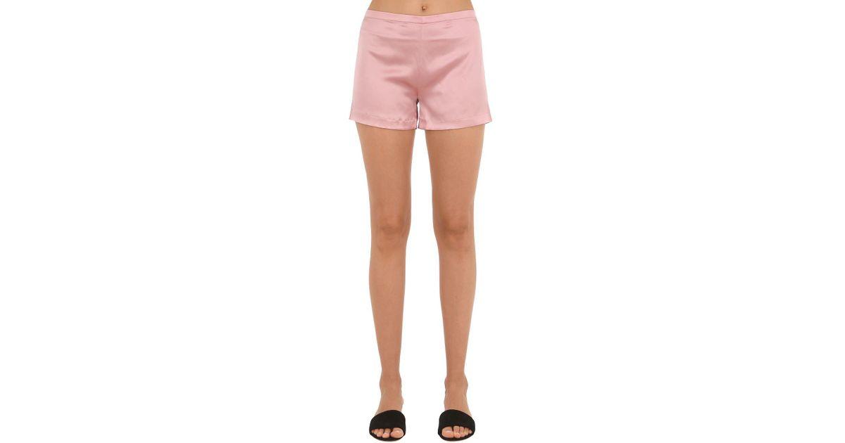 Lyst - La Perla Silk Satin Shorts in Pink dace5edbe