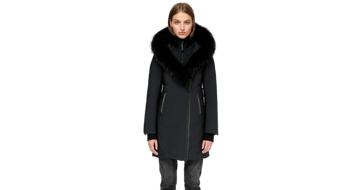 3fbc4b02df3c Lyst - Mackage Kay-p Mid Length Winter Down Coat With Fur Collar in Black