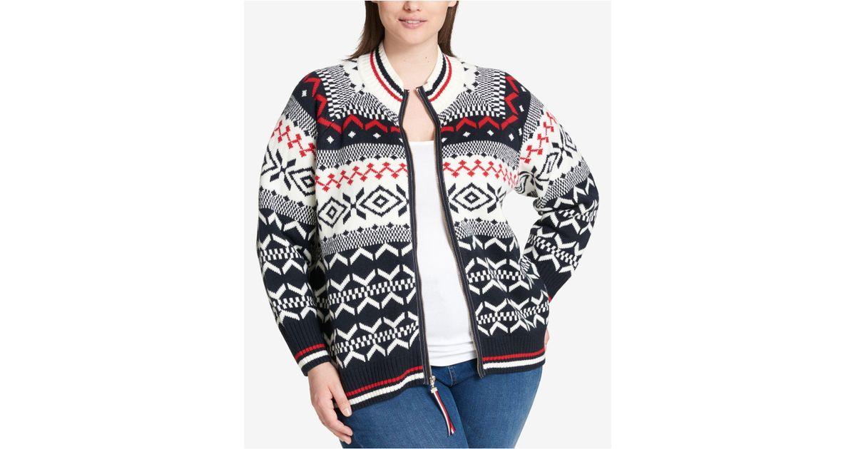Lyst - Tommy hilfiger Plus Size Fair Isle Sweater in Blue