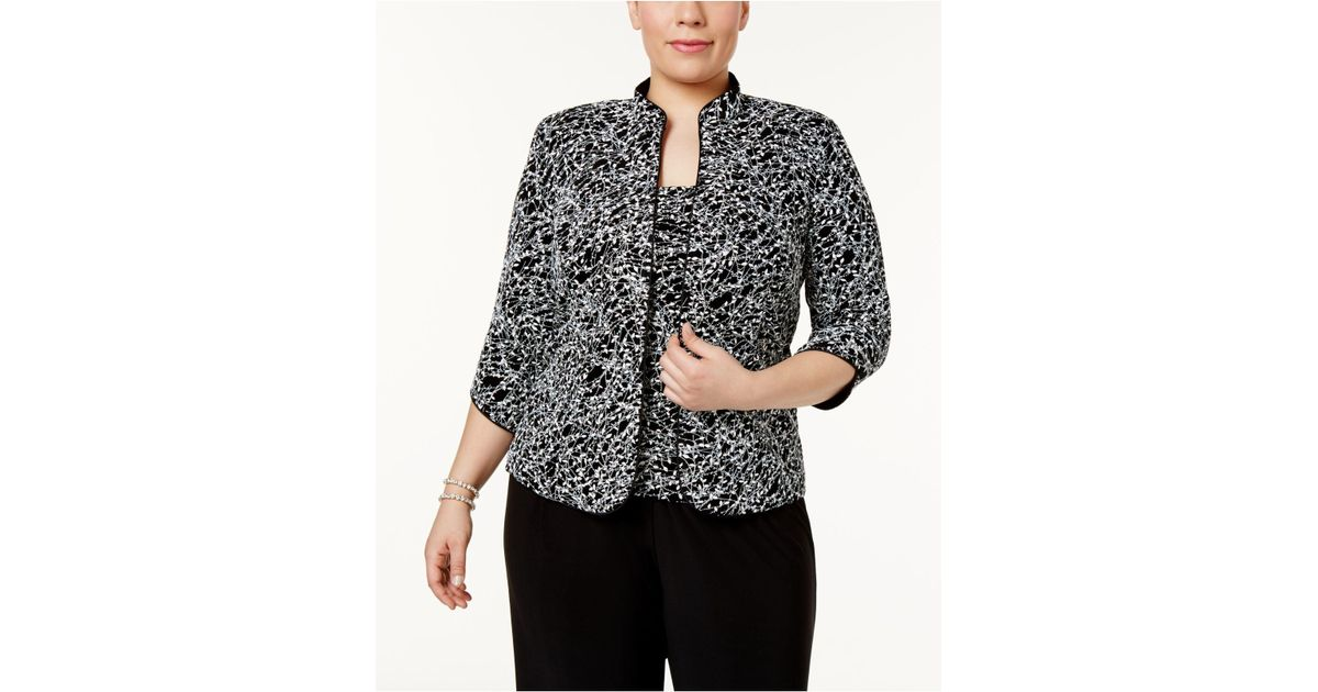 2b1823a06df Lyst - Alex Evenings Plus Size Printed Mandarin Jacket   Top Set in Black