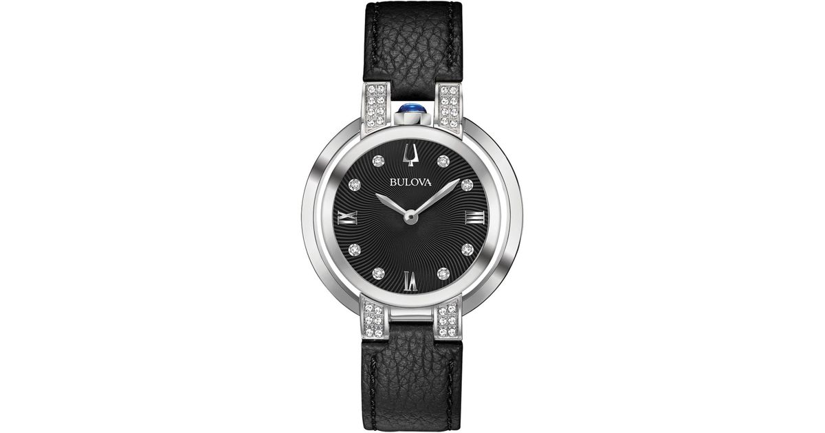 94a1d26cf Bulova Rubaiyat Diamond-accent Black Leather Strap Watch 35mm in Black -  Lyst