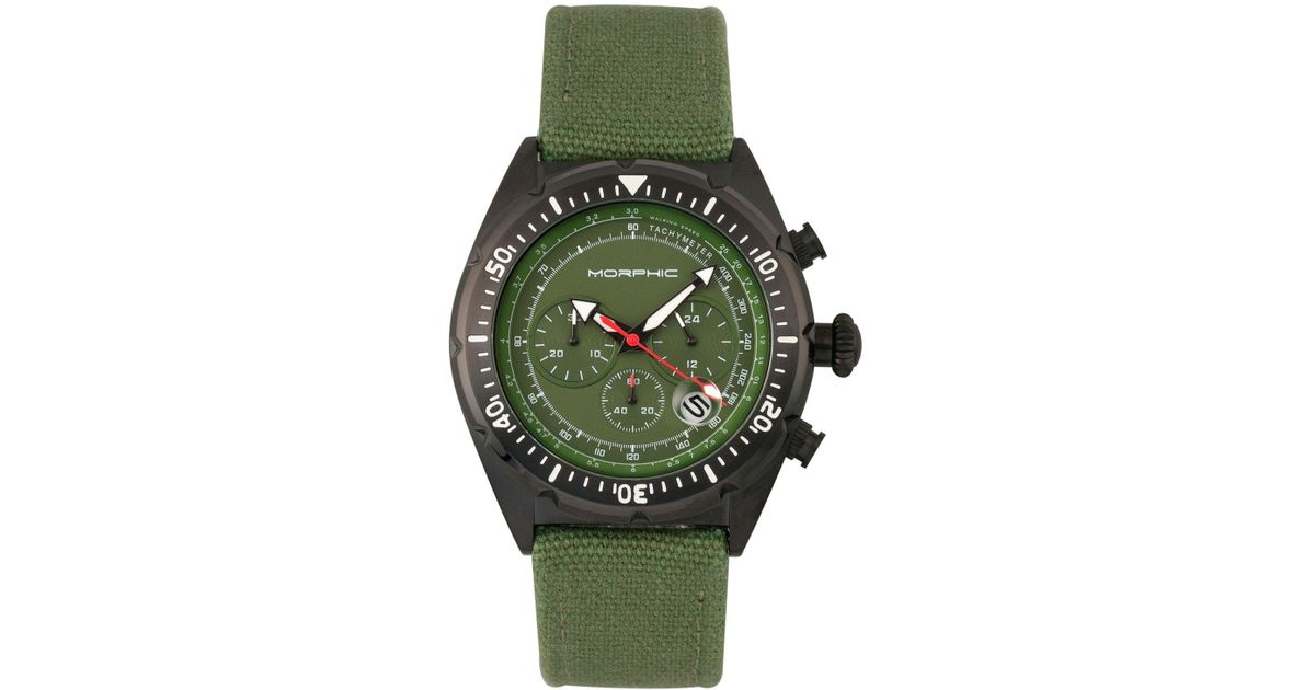 f7e4957f6 Morphic M53 Series, Black Case, Chronograph Fiber Weaved Olive Leather Band  Watch W/date, 45mm in Green for Men - Lyst