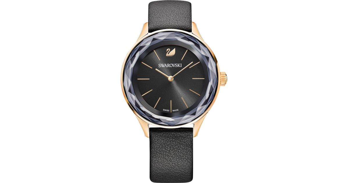 39204426e Octea Nova Watch Leather Strap Black Rose Gold Tone - Image Of Bear ...