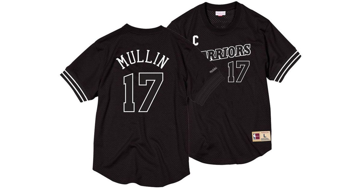 fc68a9460da ... purchase lyst mitchell ness chris mullin golden state warriors black  white mesh name and number crew ...
