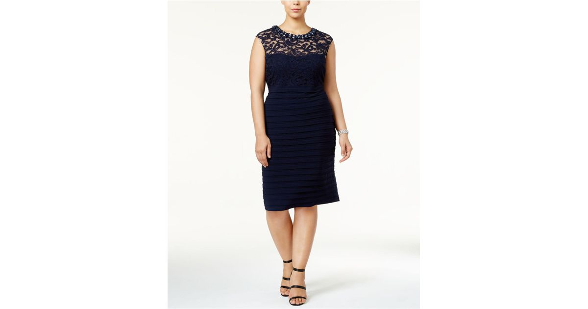 8f6ad57f Lyst - Betsy & Adam Plus Size Banded Lace Sheath Dress in Blue