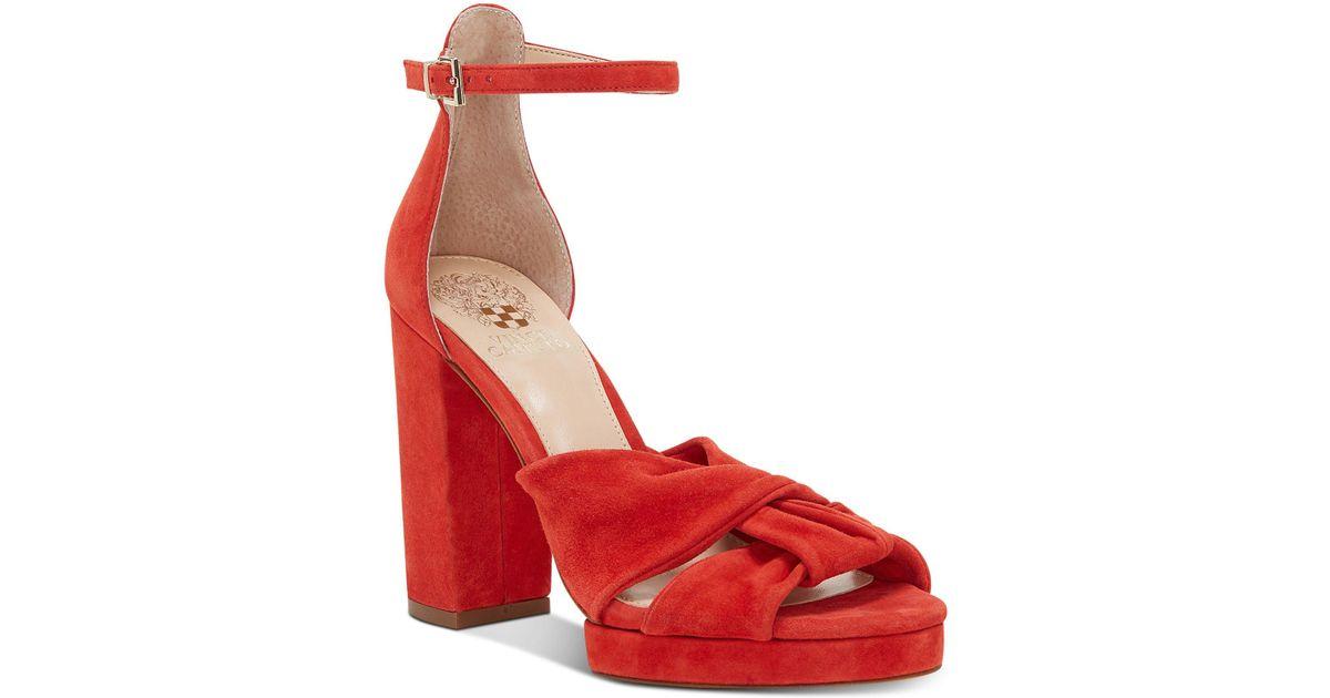 c1944529eeda Lyst - Vince Camuto Corlesta Knotted Platform Dress Sandals in Red