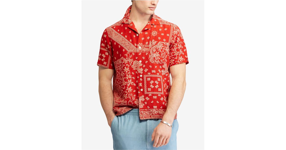 1c979c400 ... greece lyst polo ralph lauren bandana sport shirt in red for men 9c51f  4ff5f
