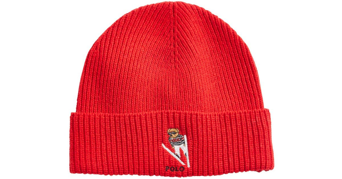 91bd245ced3 Lyst - Polo Ralph Lauren Polo Bear Skiing Cuffed Hat in Red for Men